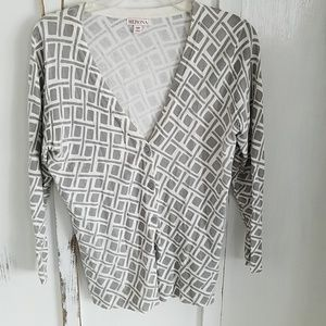 Gray and white patterned cardigan